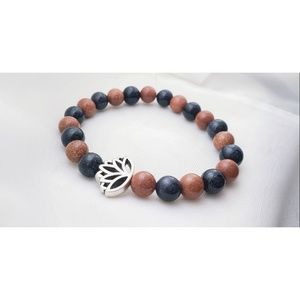 Goldstone, and bluestone lotus bracelet
